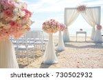 romantic wedding ceremony on... | Shutterstock . vector #730502932