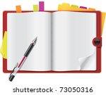 vector open personal organizer | Shutterstock .eps vector #73050316