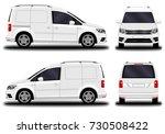 realistic cargo van. front view ... | Shutterstock .eps vector #730508422