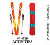 ski  poles  snowboard flat... | Shutterstock .eps vector #730508578