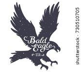 grunge textured bald eagle... | Shutterstock .eps vector #730510705