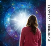woman looking at a zodiac... | Shutterstock . vector #730513756