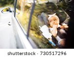 little baby fastened with... | Shutterstock . vector #730517296