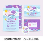 cute unicorn theme happy... | Shutterstock .eps vector #730518406