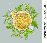 nettle tea illustration | Shutterstock .eps vector #730521088