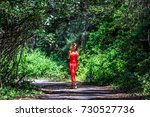 beautiful model in red dress... | Shutterstock . vector #730527736