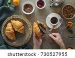 cozy winter or autumn breakfast ... | Shutterstock . vector #730527955