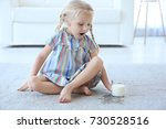 cute little girl with glass of... | Shutterstock . vector #730528516