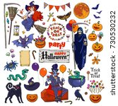 Big Set Of Halloween Cartoon...