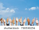many hands holding thumbs up as ... | Shutterstock . vector #730530256
