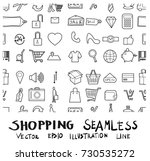 shopping doodle background... | Shutterstock .eps vector #730535272