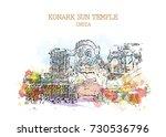 watercolor sketch with splash...   Shutterstock .eps vector #730536796