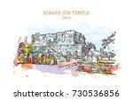 watercolor sketch with splash...   Shutterstock .eps vector #730536856