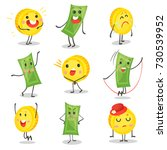 cute funny banknotes and coins... | Shutterstock .eps vector #730539952
