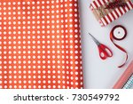 flat lay with christmas present ... | Shutterstock . vector #730549792
