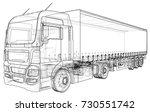 model trailer truck. wire frame....   Shutterstock .eps vector #730551742