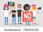mass protest  flat editable... | Shutterstock .eps vector #730555135