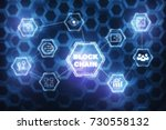 abstract block chain hologram... | Shutterstock . vector #730558132