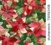 christmas winter poinsettia... | Shutterstock .eps vector #730561438