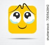 Teray square emoticon in a flat design