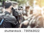 photographer video recording...   Shutterstock . vector #730563022