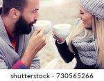 happy adult couple dating in... | Shutterstock . vector #730565266