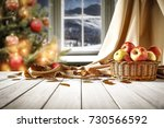 wooden table of free space and... | Shutterstock . vector #730566592