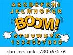 alphabet comic retro yellow.... | Shutterstock .eps vector #730567576