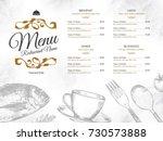 restaurant menu design. vector... | Shutterstock .eps vector #730573888