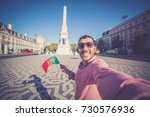 happy smiling tourist with... | Shutterstock . vector #730576936