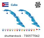 cuba high detailed map with gps ... | Shutterstock .eps vector #730577062