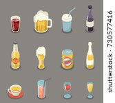 isometric retro flat alcohol... | Shutterstock .eps vector #730577416