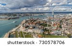 aerial view of the town and the ... | Shutterstock . vector #730578706
