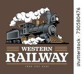vintage steam train locomotive  ... | Shutterstock .eps vector #730580476
