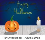 halloween scene with pumpkin... | Shutterstock .eps vector #730581985