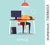 lot of work  man fell asleep at ... | Shutterstock .eps vector #730586515