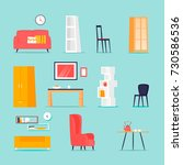 furniture in the interior set.... | Shutterstock .eps vector #730586536