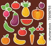 various fruits and vegetables | Shutterstock .eps vector #73058755