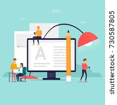 blog people write the text.... | Shutterstock .eps vector #730587805