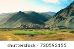 small village in leh ladakh ...   Shutterstock . vector #730592155