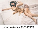 young woman is lying and... | Shutterstock . vector #730597972