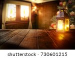 desk of free space and lamp... | Shutterstock . vector #730601215