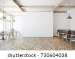 white cafe interior with tall...   Shutterstock . vector #730604038