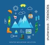 winter ski or snowboard... | Shutterstock . vector #730606306