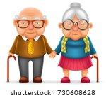 cute smile happy elderly couple ... | Shutterstock .eps vector #730608628
