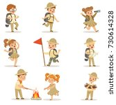 set of girls and boys in scout... | Shutterstock .eps vector #730614328