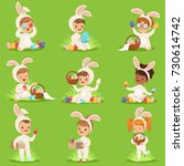 easter set with eggs and... | Shutterstock .eps vector #730614742