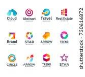 set of abstract business logo... | Shutterstock . vector #730616872