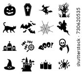 halloween icon set vector  | Shutterstock .eps vector #730620535