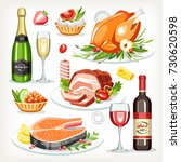 food cooked dishes festive... | Shutterstock .eps vector #730620598